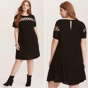 Torrid Black Challis Lattice Trapeze Rayon Dress